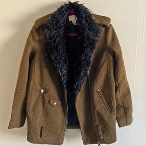 H&M olive green wool faux fur zip up military style coat